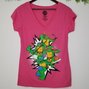 Teenage Mutant Ninja Turtles Pink V-Neck Shirt 2XL